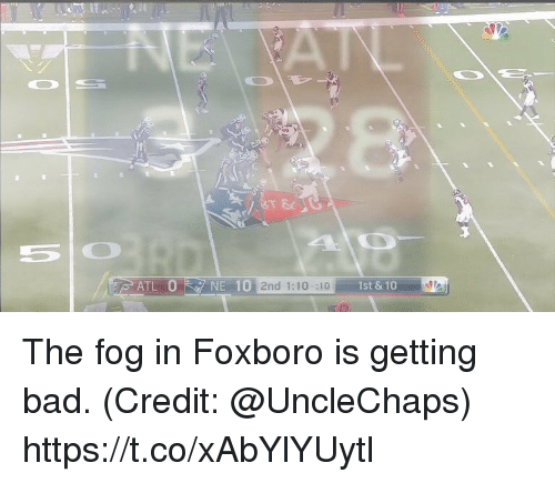 Bad, Football, and Nfl: NE 10 2nd 1:10 :10  1st & 10 The fog in Foxboro is getting bad.  (Credit: @UncleChaps) https://t.co/xAbYlYUytl