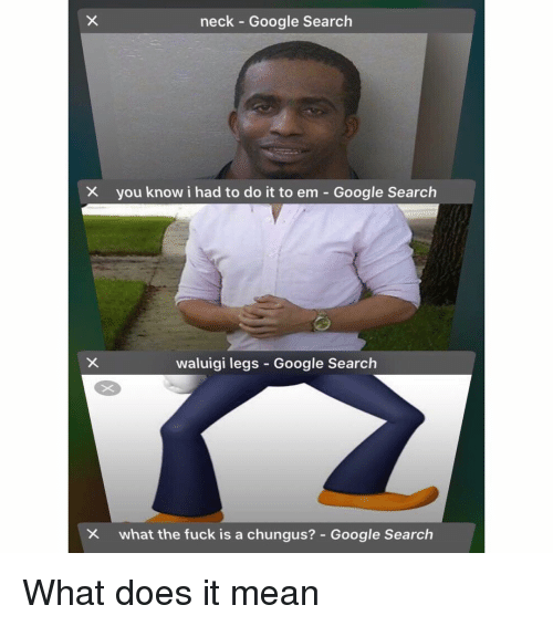 Google, Memes, and Fuck: neck Google Search  you know i had to do it to em-Google Search  waluigi legs Google Search  what the fuck is a chungus?-Google Search What does it mean
