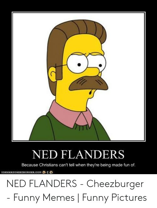 Ned Flanders Meme: NED FLANDERS  Because Christians can't tell when they're being made fun of.  CANHASCHEE2EURGER cOM NED FLANDERS - Cheezburger - Funny Memes | Funny Pictures