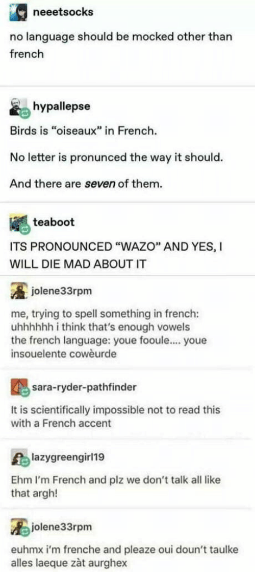 "Birds, French, and Mad: neeetsocks  no language should be mocked other than  french  hypallepse  Birds is ""oiseaux"" in French.  No letter is pronunced the way it should.  And there are seven of them.  teaboot  ITS PRONOUNCED ""WAZO"" AND YES, I  WILL DIE MAD ABOUT IT  jolene33rpm  me, trying to spell something in french:  uhhhhhh i think that's enough vowels  the french language: youe fooule.... youe  insouelente cowèurde  sara-ryder-pathfinder  It is scientifically impossible not to read this  with a French accent  lazygreengirl19  Ehm I'm French and plz we don't talk all like  that argh!  jolene33rpm  euhmx i'm frenche and pleaze oui doun't taulke  alles laeque zàt aurghex"