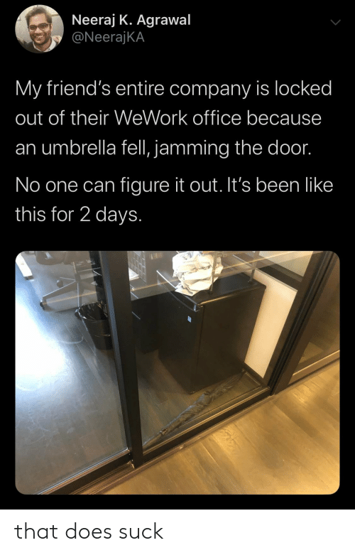 Friends, Office, and Figure It Out: Neeraj K. Agrawal  @NeerajKA  My friend's entire company is locked  out of their WeWork office because  umbrella fell, jamming the doo.  No one can figure it out. It's been like  this for 2 days. that does suck