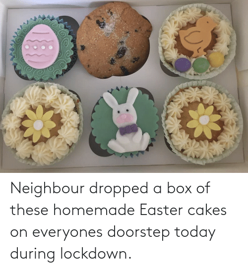 cakes: Neighbour dropped a box of these homemade Easter cakes on everyones doorstep today during lockdown.