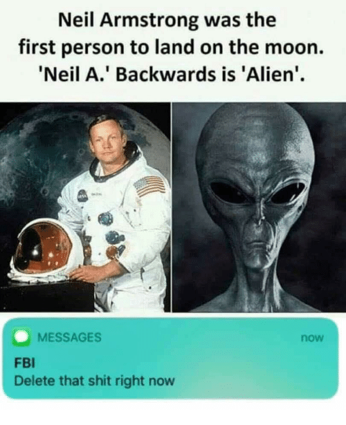 Fbi, Shit, and Neil Armstrong: Neil Armstrong was the  first person to land on the moon.  Neil A.' Backwards is 'Alien'  MESSAGES  now  FBI  Delete that shit right now