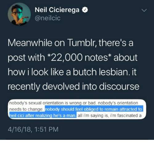 obliged: Neil Cicierega Q  @neilcio  Meanwhile on Tumblr, there's a  post with *22,000 notes* about  how i look like a butch lesbian. it  recently devolved into discourse  nobody's sexual orientation is wrong or bad. nobody's orientation  needs to change  neil cic  nobody should feel obliged to remain attracted to  i after realizing he's a  man all i'm saying is, i'm fascinated a  4/16/18, 1:51 PM