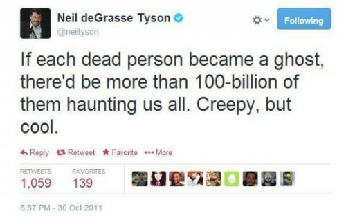 Creepy, Neil deGrasse Tyson, and Cool: Neil deGrasse Tyson O  Following  @neiltyson  If each dead person became a ghost,  there'd be more than 100-billion of  them haunting us all. Creepy, but  cool.  6 Reply 17 Retweet Favorite .. More  RETWEETS  FAVORITES  1,059  139  5:57 PM - 30 Oct 2011