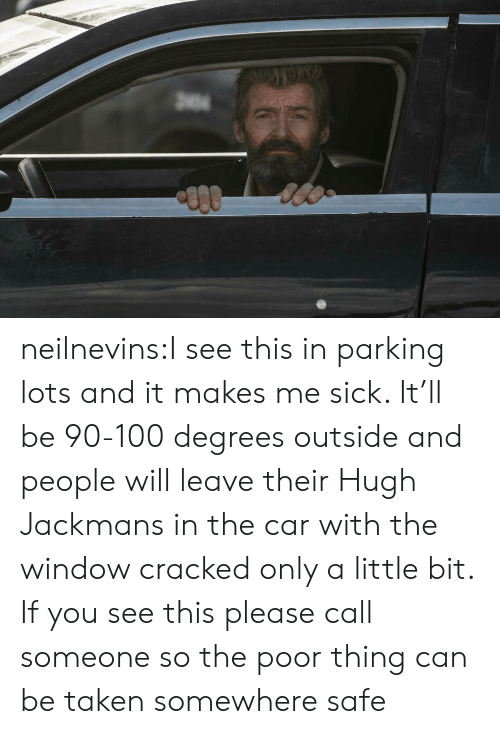 Taken, Tumblr, and Blog: neilnevins:I see this in parking lots and it makes me sick. It'll be 90-100 degrees outside and people will leave their Hugh Jackmans in the car with the window cracked only a little bit. If you see this please call someone so the poor thing can be taken somewhere safe