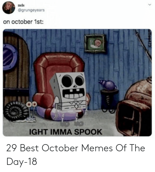 Memes, Best, and Day: nels  @grungeyears  on october 1st:  IGHT IMMA SPOOK  tiee473 29 Best October Memes Of The Day-18