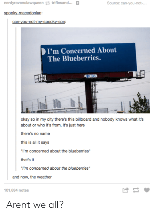 "Billboard, Okay, and The Weather: nerdyravenclawqueentriflesand...  Source:can-you-not-  I'm Concerned About  The Blueberries.  okay so in my city there's this billboard and nobody knows what it's  about or who it's from, it's just here  there's no name  this is all it says  I'm conc  that's it  I'm concerned about the blueberries""  cerned about the blueberries""  and now, the weather  101,634 notes Arent we all?"