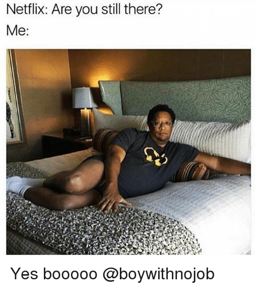 Netflix, Girl Memes, and Yes: Netflix: Are you still there?  Me Yes booooo @boywithnojob