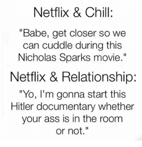 "Netflix Chill: Netflix & Chill:  ""Babe, get closer so we  can cuddle during this  Nicholas Sparks movie  Netflix & Relationship:  ""Yo, I'm gonna start this  Hitler documentary whether  your ass is in the room  or not."""