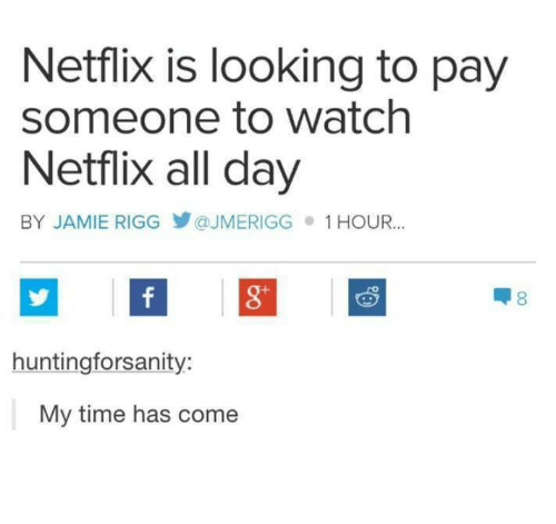 Netflix, Time, and Watch: Netflix is looking to pay  someone to watch  Netflix all day  BY JAMIE RIGG У @JMERIGG  1 HOUR..  8  huntingforsanity:  My time has come
