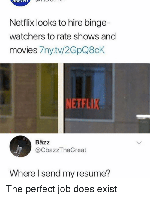 Memes, Movies, and Netflix: Netflix looks to hire binge-  watchers to rate shows and  movies 7ny.tv/2GpQ8chK  NETFL  Bäzz  @CbazzThaGreat  Where l send my resume? The perfect job does exist
