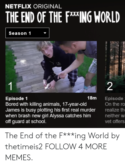 Animals, Bored, and Dank: NETFLIX ORIGINAL  THE END OF THE FING WORLD  Season 1  1  2  18m  Episode 1  Bored with killing animals, 17-year-old  James is busy plotting his first real murder  when brash new girl Alyssa catches him  off guard at school.  Episode  On the ro  realize th  neither w  vet offers The End of the F***ing World by thetimeis2 FOLLOW 4 MORE MEMES.