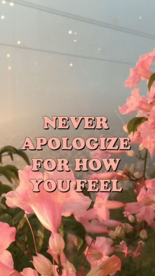 Never, How, and For: NEVER  APOLOGIZE  FOR HOW  YOUFEEL