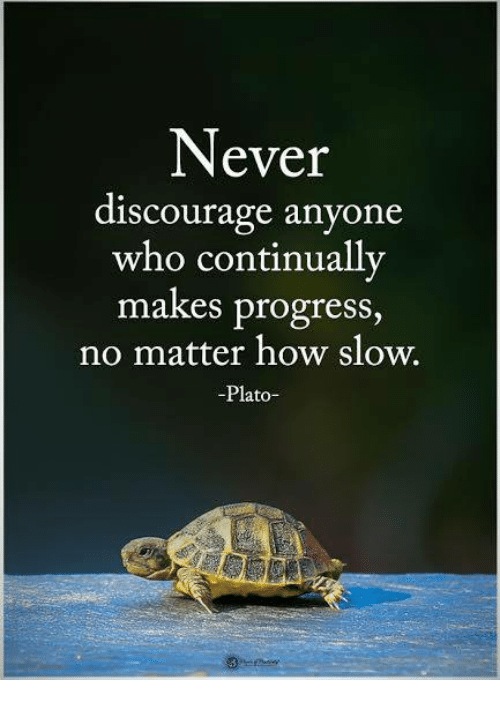 Memes, Never, and Plato: Never  discourage anyone  who continually  makes progress  no matter how slow.  -Plato-