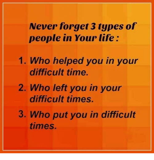 Memes, 🤖, and Never Forget: Never forget 3 types of  people in Your life  1. Who helped you in your  difficult time.  2. Who left you in your  difficult times.  3. Who put you in difficult  times.