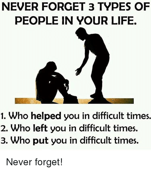 Memes, 🤖, and Never Forget: NEVER FORGET 3 TYPES OF  PEOPLE IN YOUR LIFE.  1. Who helped you in difficult times.  2. Who left you in difficult times.  3. Who put you in difficult times. Never forget!