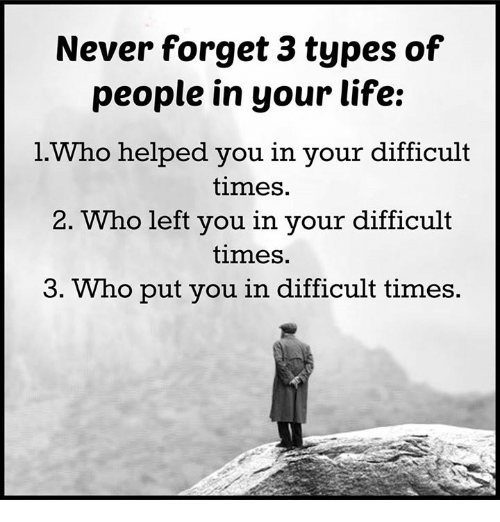 Memes, 🤖, and Never Forget: Never forget 3 types of  people in your life:  l Who helped you in your difficult  times.  2. Who left you in your difficult  times.  3. Who put you in difficult times.