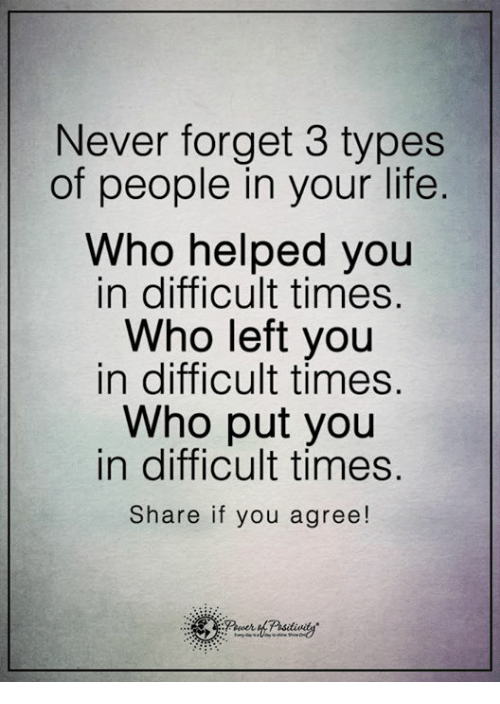 Memes, 🤖, and Time Share: Never forget 3 types  of people in your life  Who helped you  in difficult times.  Who left you  in difficult times.  Who put you  in difficult times  Share if you agree!