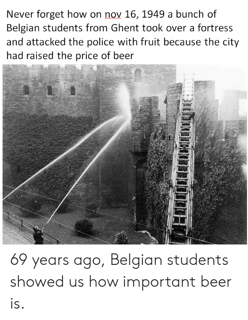 Belgian: Never forget how on nov 16, 1949 a bunch of  Belgian students from Ghent took over a fortress  and attacked the police with fruit because the city  had raised the price of beer 69 years ago, Belgian students showed us how important beer is.