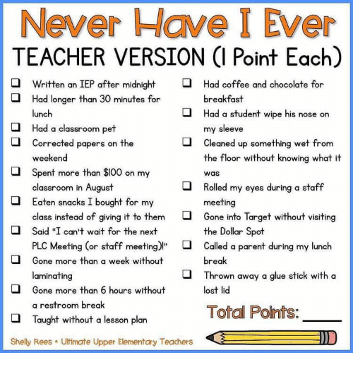 """Target, Teacher, and Lost: Never Have I Ever  TEACHER VERSION (I Point Each)  Written an IEP after midnight  Had coffee and chocolate for  Had longer than 30 minutes for  breakfast  Had a student wipe his nose on  lunch  my sleeve  Cleaned up something wet from  the floor without knowing what it  Had a classroom pet  Corrected papers on the  weekend  Spent more than $100 on my  classroom in August  Eaten snacks I bought for my  was  Rolled my eyes during a staff  meeting  Gone into Target without visiting  the Dollar Spot  class instead of giving it to them  Said """"I can't wait for the next  PLC Meeting (or staff meeting)""""  Called a parent during my lunch  Gone more than a week without  break  laminating  Thrown away a glue stick with a  Gone more than 6 hours without  lost lid  a restroom break  Total Points:  Taught without a lesson plan  D  Shelly Rees  Ultimate Upper Elementary Teachers"""