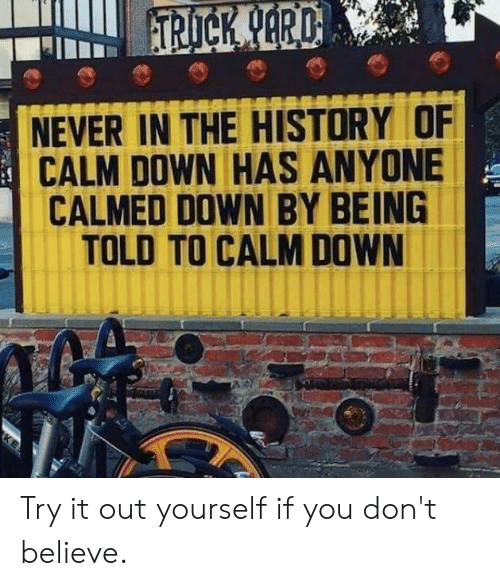 Dank, History, and Never: NEVER IN THE HISTORY OF  CALM DOWN HAS ANYONE  CALMED DOWN BY BEING  TOLD TO CALM DOWN Try it out yourself if you don't believe.