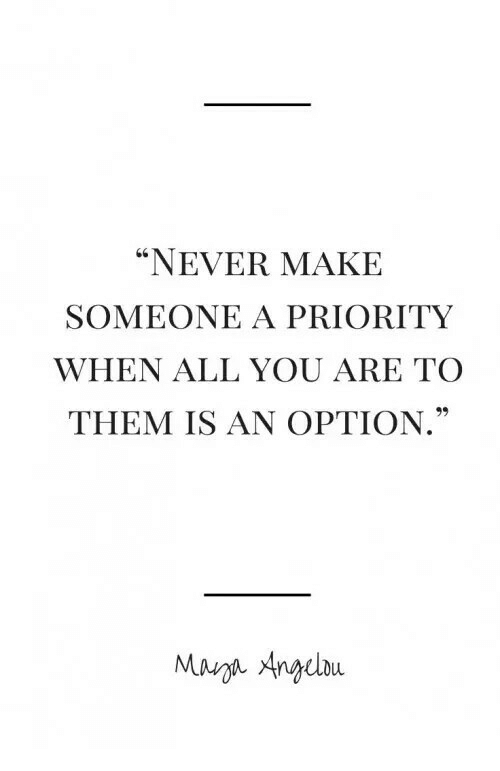 "Never, Them, and All: ""NEVER MAKE  SOMEONE A PRIORITY  WHEN ALL YOU ARE TO  THEM IS AN OPTION  Mauna Anbu"