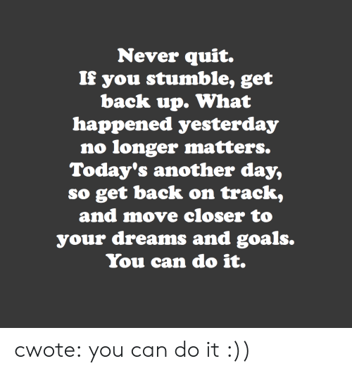 Goals, Target, and Tumblr: Never quit.  If you stumble, get  back up. What  happened yesterday  no longer matters.  Today's another day,  so get back on track,  and move closer to  your dreams and goals.  You can do it. cwote:  you can do it :))