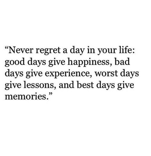 "Bad, Life, and Regret: ""Never regret a day in your life:  good days give happiness, bad  days give experience, worst days  give lessons, and best days give  memories.  29"