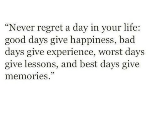 """Bad, Life, and Regret: """"Never regret a day in your life:  good days give happiness, bad  days give experience, worst days  give lessons, and best days give  memories.  cC"""