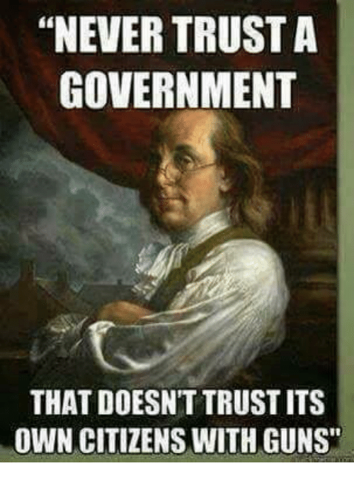 """Guns, Memes, and Government: """"NEVER TRUST A  GOVERNMENT  THAT DOESN'T TRUST ITS  OWN CITIZENS WITH GUNS"""