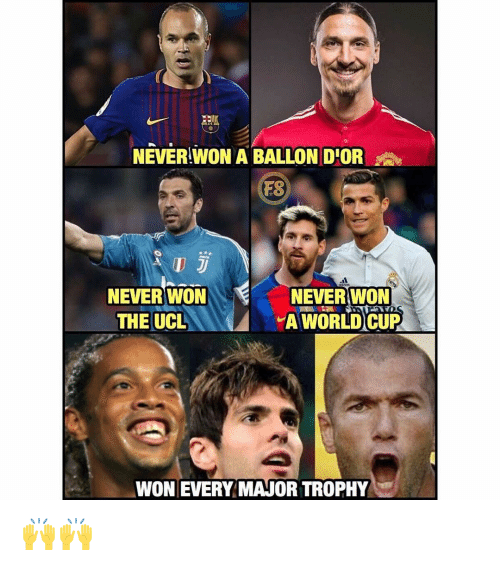 Ballon: NEVER WON A BALLON DIOR  ES  NEVER WON  THE UCL  NEVER WON  A WORLD CUP  AT  WON EVERY MAJOR TROPHY 🙌🙌