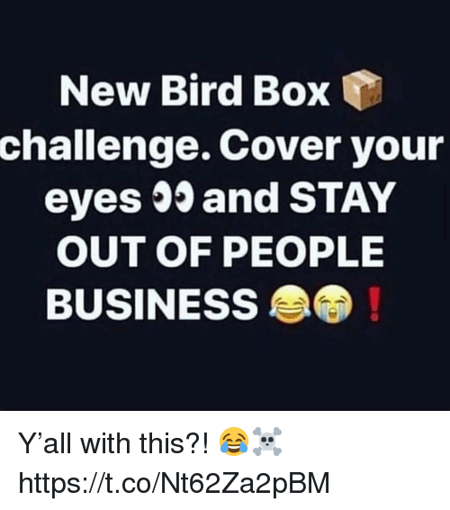 Business, Box, and Challenge: New Bird Box  challenge. Cover your  eyes 35 and STAY  OUT OF PEOPLE  BUSINESS Y'all with this?! 😂☠️ https://t.co/Nt62Za2pBM