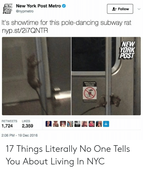 Metro: NEW New York Post Metro  YORK  Follow  POST @nypmetro  It's showtime for this pole-dancing subway rat  nyp.st/217QNTR  NEW  YORK  POST  RETWEETS  LIKES  1,724  2,359  2:06 PM - 19 Dec 2016 17 Things Literally No One Tells You About Living In NYC