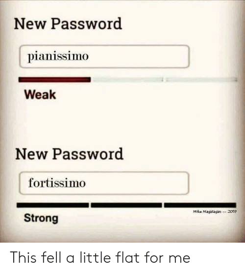 Strong, New, and Mike: New Password  pianissimo  Weak  New Password  fortissimo  Mike Magatagan2019  Strong This fell a little flat for me