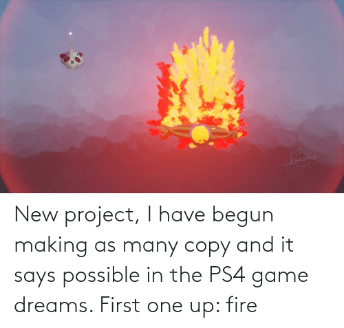 Begun: New project, I have begun making as many copy and it says possible in the PS4 game dreams. First one up: fire