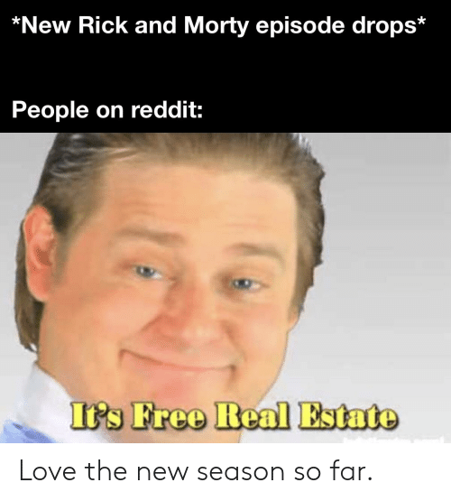 Love, Reddit, and Rick and Morty: *New Rick and Morty episode drops*  People on reddit:  It's Free Real Estate Love the new season so far.