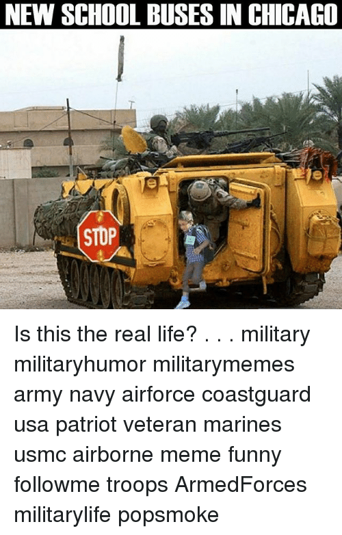 Chicago, Funny, and Life: NEW SCHOOL BUSES IN CHICAGO  STOP Is this the real life? . . . military militaryhumor militarymemes army navy airforce coastguard usa patriot veteran marines usmc airborne meme funny followme troops ArmedForces militarylife popsmoke