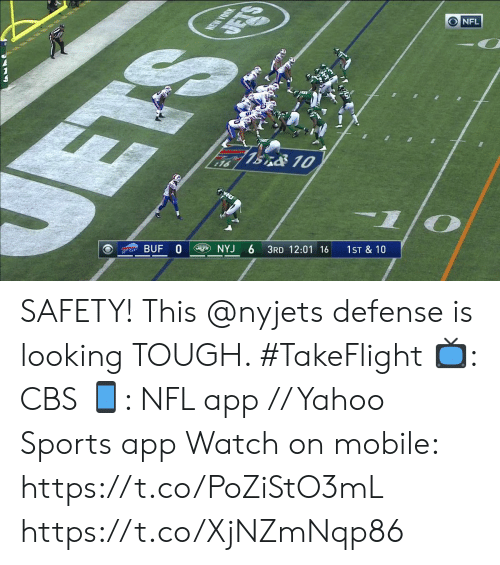 12 01: NEW YORK  DETS  NFL  ETS  7BnO 10  16  BUF 0  NYJ  3RD 12:01 16  1ST & 10 SAFETY! This @nyjets defense is looking TOUGH. #TakeFlight  📺: CBS 📱: NFL app // Yahoo Sports app  Watch on mobile: https://t.co/PoZiStO3mL https://t.co/XjNZmNqp86