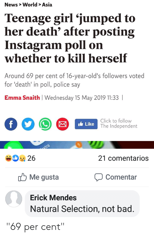 """Bad, Click, and Instagram: News> World> Asia  Teenage girl 'jumped to  her death' after posting  Instagram poll  whether to kill herself  on  Around 69 per cent of 16-year-old's followers voted  for 'death' in poll, police say  Emma Snaith Wednesday 15 May 2019 11:33  Click to follow  Like The Independent  f  vtra  D26  21 comentarios  Me gusta  Comentar  Erick Mendes  Natural Selection, not bad. """"69 per cent"""""""