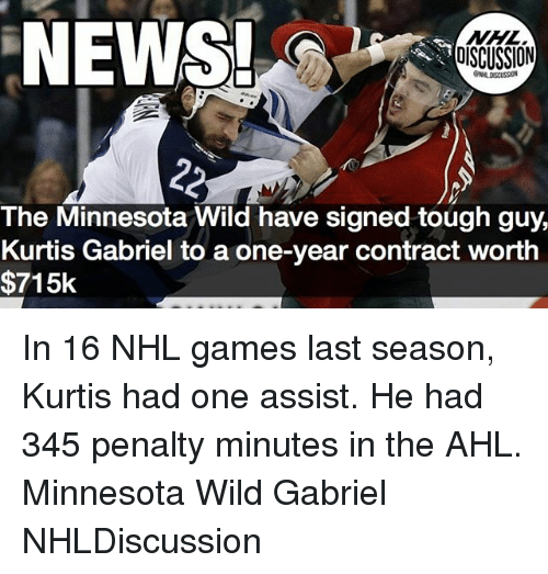 Memes, News, and National Hockey League (NHL): NEWS!  DISCUSSION  The Minnesota Wild have signed tough guy,  Kurtis Gabriel to a one-year contract worth  $715k In 16 NHL games last season, Kurtis had one assist. He had 345 penalty minutes in the AHL. Minnesota Wild Gabriel NHLDiscussion