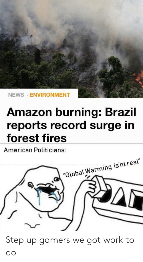 """Amazon, Global Warming, and News: NEWS ENVIRONMENT  Amazon burning: Brazil  reports record surge in  forest fires  American Politicians:  """"Global Warming is'nt real"""" Step up gamers we got work to do"""