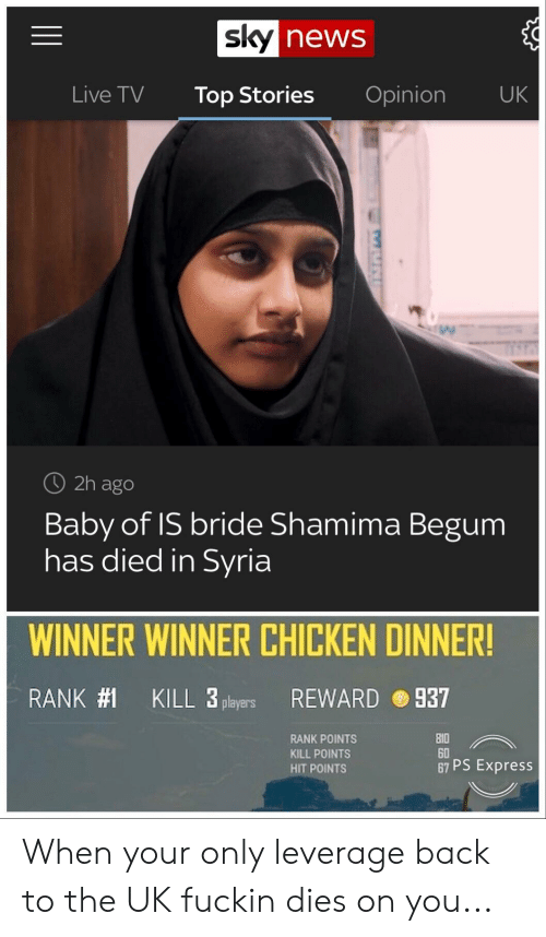 Shamima Begum: news  Live TV Top Stories Opinion UK  O 2h ago  Baby of IS bride Shamima Begum  has died in Syria  WINNER WINNER CHICKEN DINNER!  RANK#1  KILL 3 players  REWARD  937  RANK POINTS  KILL POINTS  HIT POINTS  0  60  67 PS Express When your only leverage back to the UK fuckin dies on you...