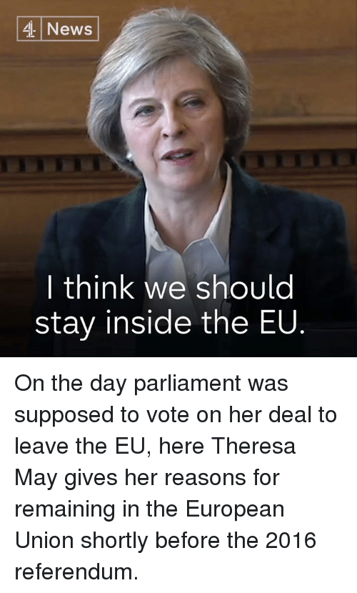 Memes, News, and European Union: News  | think we should  stay inside the EU On the day parliament was supposed to vote on her deal to leave the EU, here Theresa May gives her reasons for remaining in the European Union shortly before the 2016 referendum.