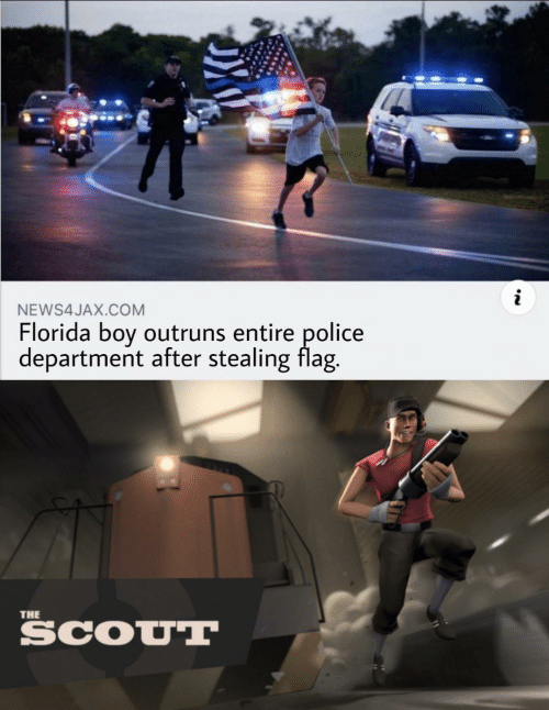 stealing: NEWS4JAX.COM  Florida boy outruns entire police  department after stealing flag.  THE  SCOUT