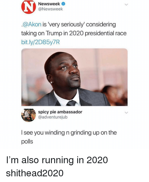 Akon, Trump, and Dank Memes: Newsweek  @Newsweek  @Akon is 'very seriously' considering  taking on Trump in 2020 presidential race  bit.ly/2D85y7R  spicy pie ambassador  @adventurejub  l see you winding n grinding up on the  polls I'm also running in 2020 shithead2020