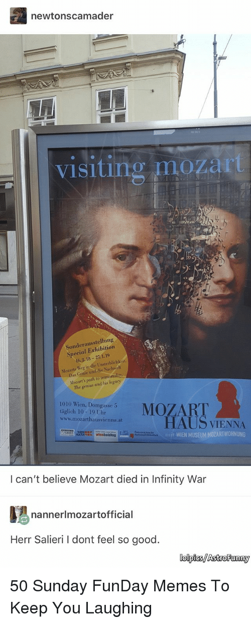 Memes, Genius, and Good: newtonscamader  visiting mozart  Sonderausstellung  Special Exhibition  16.2.18 27.1.19  Mozarts Weg in die Unsterblichkeit.  Mozart's path to immortality.  The genius and his legacy  1010 Wien, Domgasse 5  täglich 10-19 Uhr  www.mozarthausvienna.at  HAUS VIENNA  mit WIEN MUSEUM MOZARTWOHNUNG  tecrichische  I can't believe Mozart died in Infinity War  nannerlmozartofficial  Herr Salieri I dont feel so good.  lolpics/AstroFunny 50 Sunday FunDay Memes To Keep You Laughing