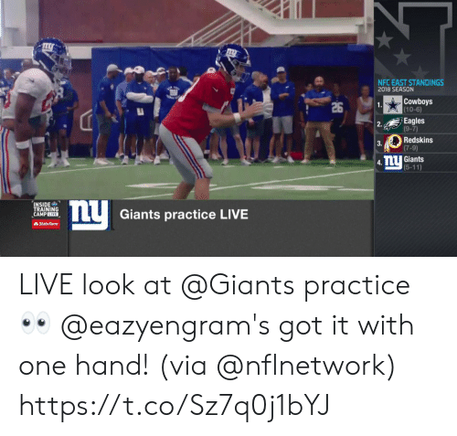 Dallas Cowboys, Philadelphia Eagles, and Memes: NFC EAST STANDINGS  2018 SEASON  Cowboys  (10-6)  26  1  Eagles  (9-7)  2.  Redskins  (7-9)  3.  mU Giants  (5-11)  4.  INSIDE  TRAINING  CAMPLIVE  Giants practice LIVE  AState Farm LIVE look at @Giants practice 👀  @eazyengram's got it with one hand! (via @nflnetwork) https://t.co/Sz7q0j1bYJ