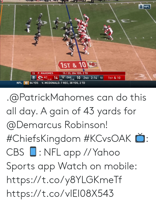 Memes, Nfl, and Sports: NFL  1ST & 10  15/23, 204 YDS, 2 TD  15 P. MAHOMES  14 OAK  (1-0)  10 2ND 2:14 10  KC  1ST & 10  (1-0)  84 YDS  NFL  V. MCDONALD: 7 REC, 38 YDS, 2 TD .@PatrickMahomes can do this all day. A gain of 43 yards for @Demarcus Robinson! #ChiefsKingdom #KCvsOAK  📺: CBS 📱: NFL app // Yahoo Sports app Watch on mobile: https://t.co/y8YLGKmeTf https://t.co/vlEI08X543
