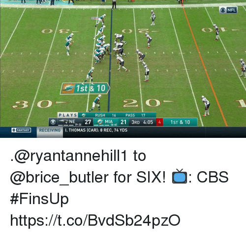 Memes, Nfl, and Cbs: NFL  1st & 10  PLAYS  RUSH 16 PASS 17  NE27MIA1 3RD 4:05  I. THOMAS (CAR): 8 REC, 74 YDS  4 1ST & 10  (9-3)  16-6)  FANTASY RECEIVING .@ryantannehill1 to @brice_butler for SIX!  📺: CBS #FinsUp https://t.co/BvdSb24pzO